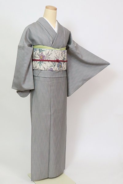 銀座【A-3321】単衣 紬 白鼠色 竪縞