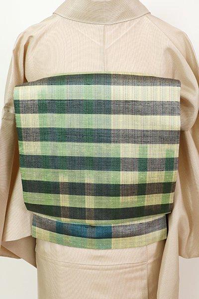 銀座【K-7389】米沢新田工房製 紬地 織名古屋帯 格子文(反端付)