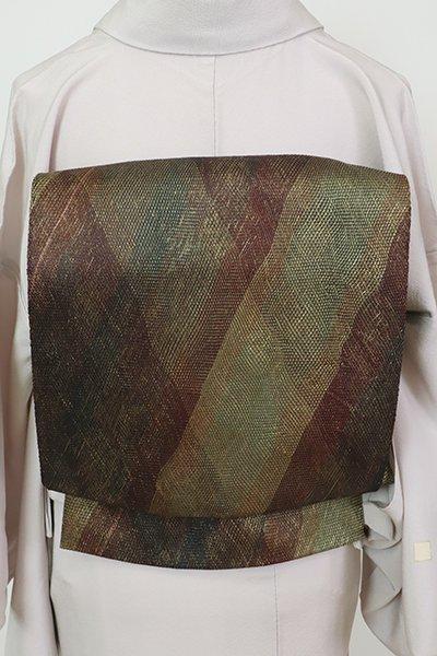 銀座【L-5634】夏 組織り 袋帯 紫鳶色 斜め格子