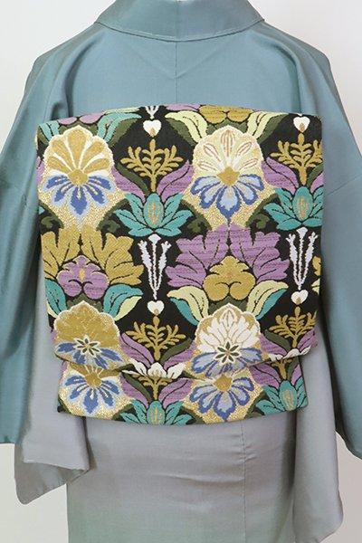 あおき【L-5635】西陣 洛陽織物製 袋帯 黒色 唐花文(落款入)