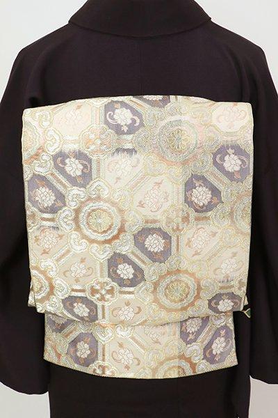 銀座【L-5636】袋帯 練色×濃鼠色 市松暈かしに蜀江文