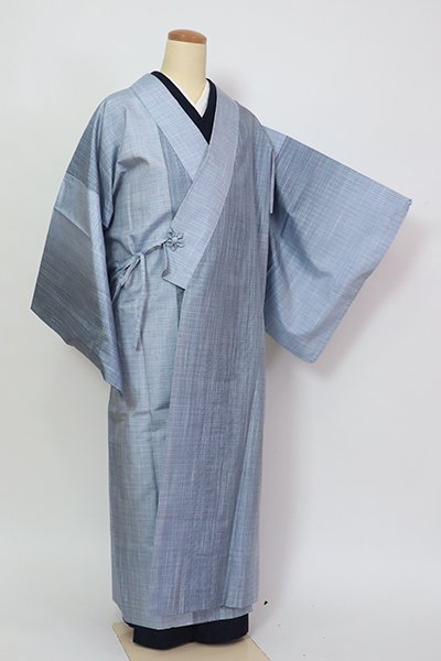 あおき【E-1381】(細め)大島紬地 単衣 道中着 秘色色 竪暈かし(証紙付)