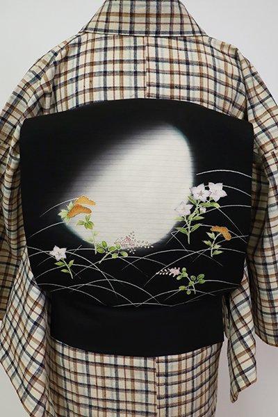 銀座【K-7400】絽塩瀬 染名古屋 黒色 月と秋草の図