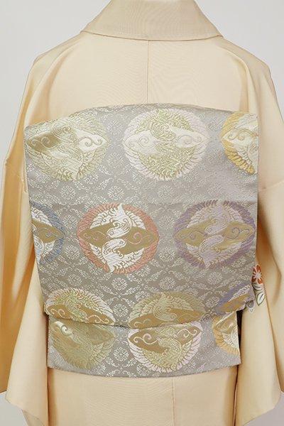 銀座【L-5639】袋帯 深い絹鼠色 有職文に双鳥文