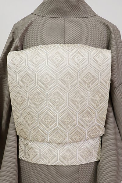 銀座【L-5640】本場筑前博多織 袋帯 灰白色 亀甲文(証紙付)