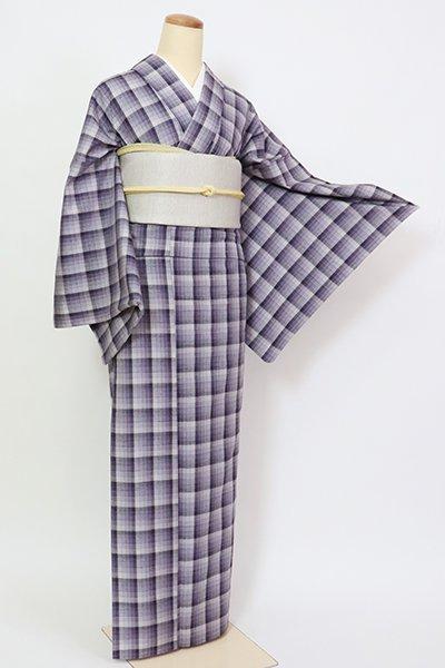 銀座【A-3334】(L)単衣 紬 紫苑色  格子文