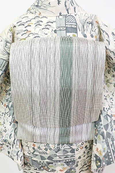 銀座【L-5647】櫛織 洒落袋帯 白色 竪縞