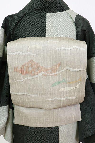 銀座【K-7444】夏紬地 織名古屋帯 絹鼠色 魚の図