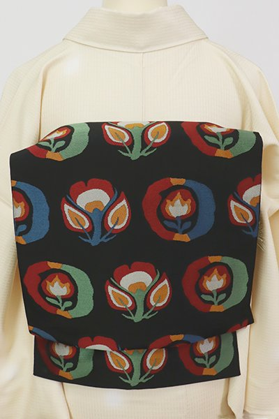 あおき【L-5651】西陣 織悦製 本袋帯 黒色 花の丸文(証紙付・落款入)