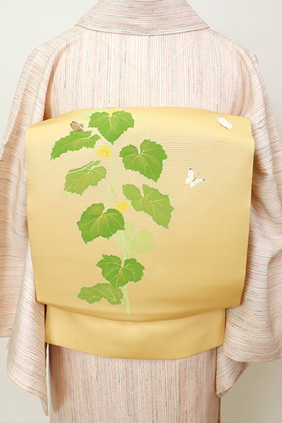銀座【K-7447】塩瀬 名古屋帯 飴色 胡瓜に蝶の図