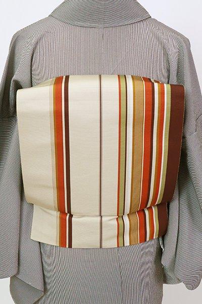 銀座【K-7418】博多織 八寸名古屋帯 灰白色×茶色濃淡 竪縞
