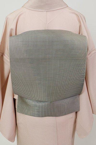 銀座【K-7425】本場筑前博多織 紗 八寸名古屋帯 紅消鼠色 斜め格子(証紙付)
