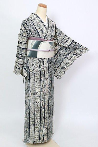 銀座【D-2783】単衣 型絵染 小紋 練色 縞に草花
