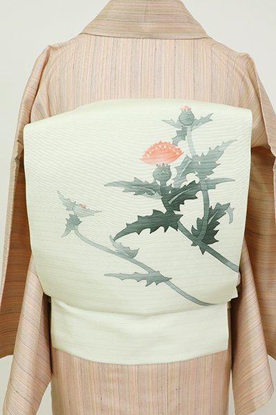 銀座【K-7462】絽塩瀬 染名古屋帯 淡い若芽色 紅花の図(落款入)