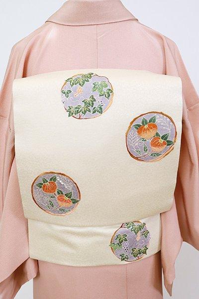 銀座【K-7465】染名古屋帯 鳥の子色 葡萄や橘の丸文