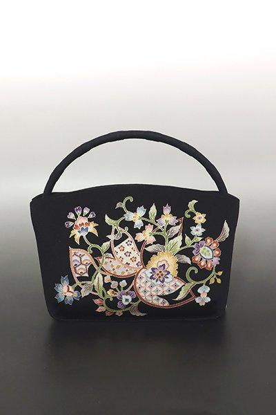 あおき【G-1848】岡重製 縮緬地 手提げバッグ 黒色 蘭更紗