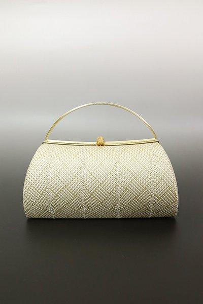 【G-1849】京都 衿秀 組織り フォーマルバッグ 白色×金色