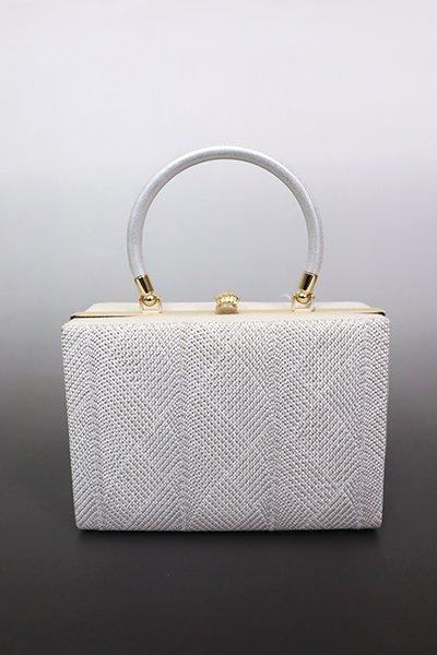 【G-1850】京都 衿秀 組織り フォーマルバッグ 白色×銀色