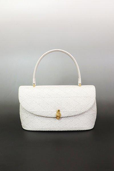 【G-1851】京都 衿秀 組織り フォーマルハンドバッグ 白色×銀色