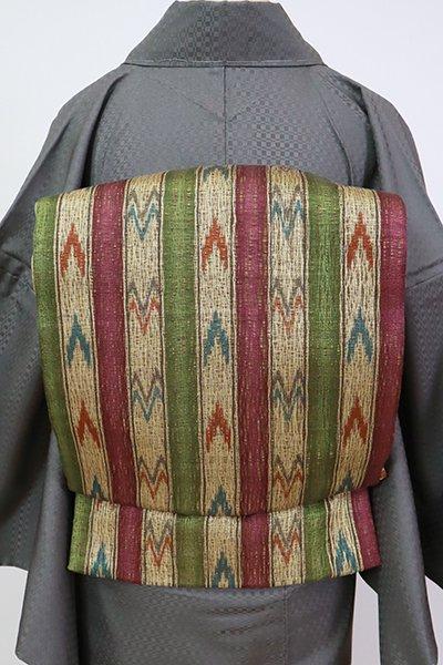 あおき【L-5660】櫛織 夏 洒落袋帯 暗紅色×砥粉色×松葉色 縞に絣文