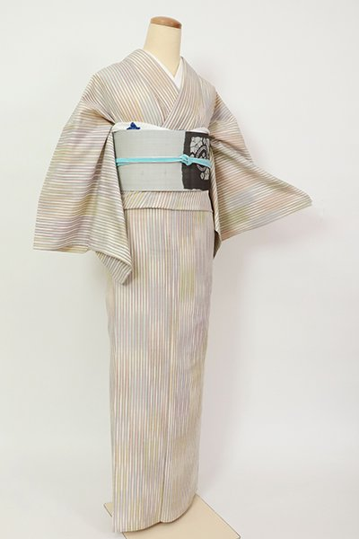 銀座【A-3345】単衣 紬 多彩な竪縞(反端付)