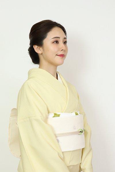 銀座【L-5664】西陣 加納幸製 夏 洒落袋帯 白色 水玉文(落款入)