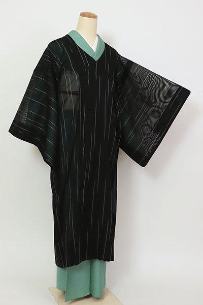 銀座【E-1395】紗 千代田衿 和装コート黒色 竪縞