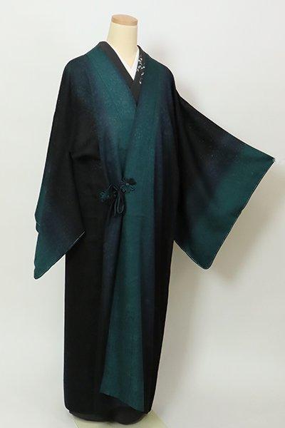銀座【E-1396】(広め)紋紗 道中着 黒色×高麗納戸色 竪暈し