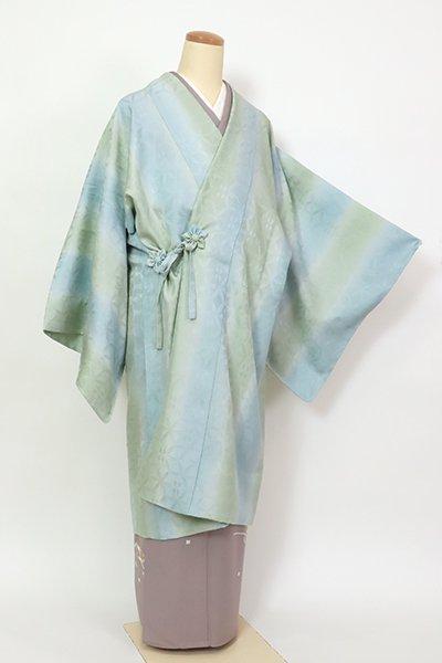 銀座【E-1397】単衣 道中着 柳鼠色×秘色色 竪暈かし(反端付)(N)