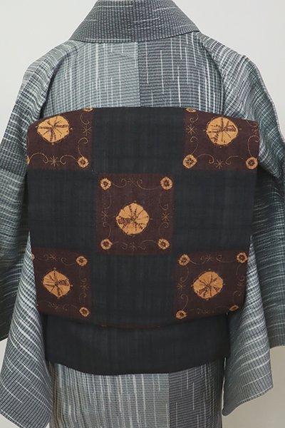 銀座【K-7478】夏紬地 絞り染め 名古屋帯 消炭色 市松に装飾文
