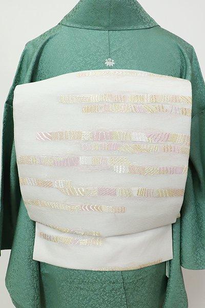 銀座【K-7479】西陣製 絽 名古屋帯  胡粉色 横段(証紙付)