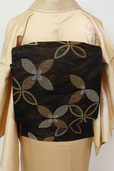 銀座【L-5675】紗 袋帯 黒色 七宝文