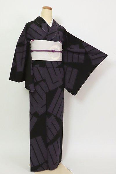 銀座【D-2792】単衣 小紋 黒色 源氏香の図(反端付)