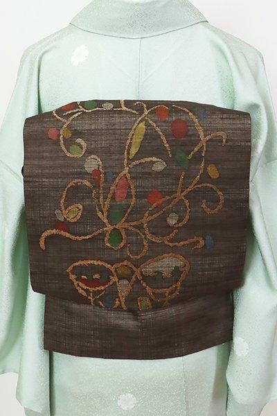 銀座【K-7480】夏紬地 織名古屋帯 憲法色 装飾唐草文