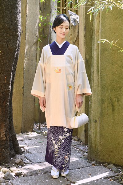 銀座【着物3137】銀座志ま亀製 紗 道行コート