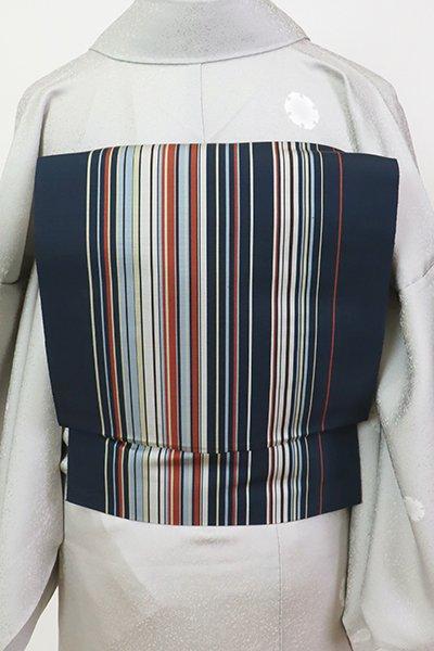 銀座【K-7485】博多織 八寸名古屋帯 藍鉄色 竪縞