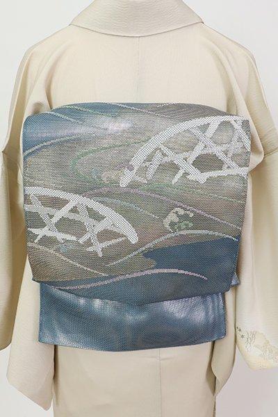 銀座【L-5677】紗 袋帯 舛花色 波に蛇籠の図