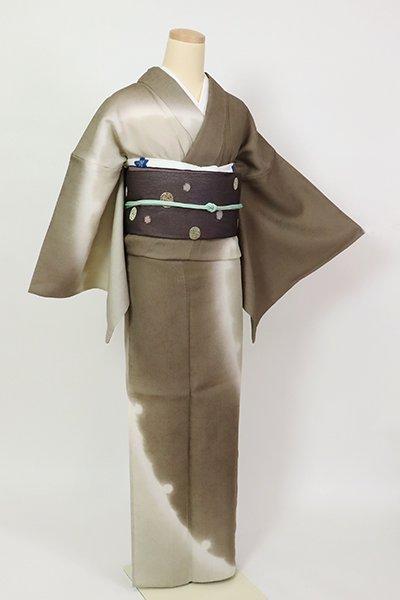 銀座【B-2909】(L)単衣 紬地 訪問着 樺茶色 大雪輪文
