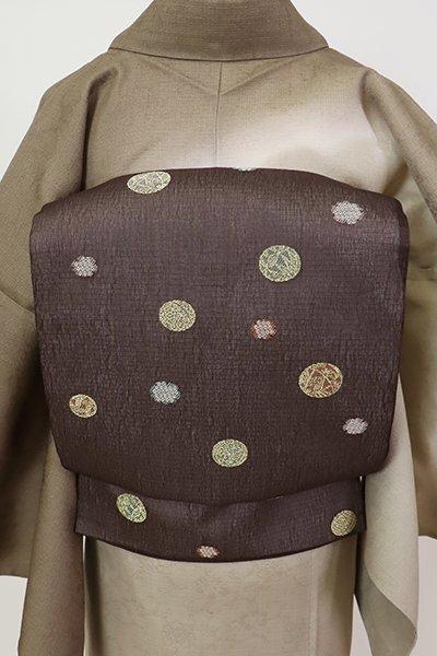 銀座【L-5678】紗 袋帯 紅消鼠色 手鞠と雪輪の図