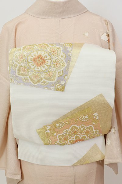 銀座【L-5679】西陣製 夏袋帯 白色 色紙重ね文(証紙付)(N)