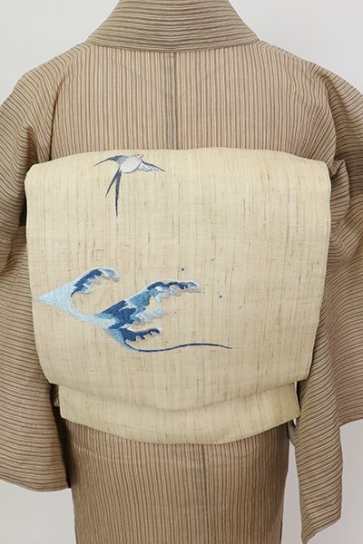 銀座【K-7489】麻地 刺繍 名古屋帯 浅黄色 波に燕の図