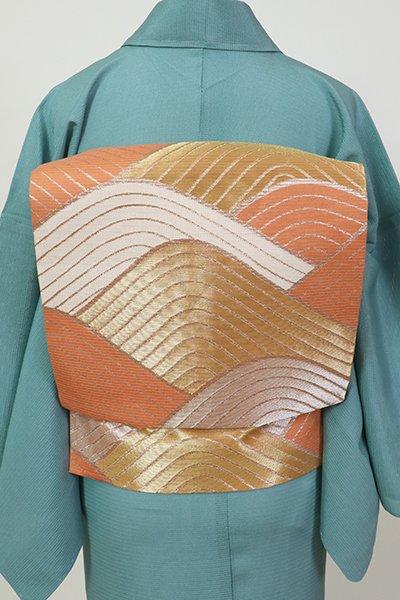 銀座【K-7491】西陣 川島織物製 絽 織名古屋帯 肉桂色 青海波文(落款入)