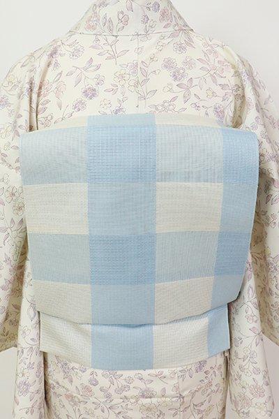 銀座【K-7494】織屋にしむら 本場筑前博多織 紗 八寸名古屋帯 白色×空色 格子(証紙付)