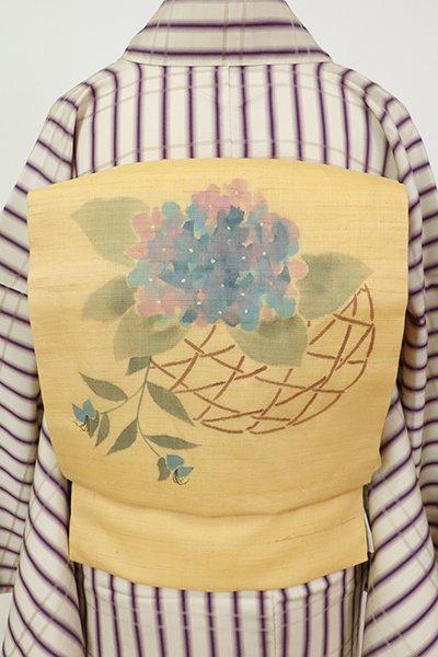銀座【K-7496】麻地 染名古屋帯 飴色 籠に紫陽花の図