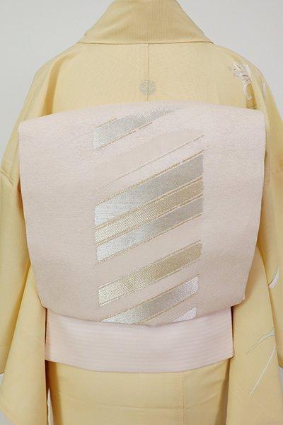 銀座【L-5681】西陣 加納幸製 絽 袋帯 桜色 抽象文(証紙付)