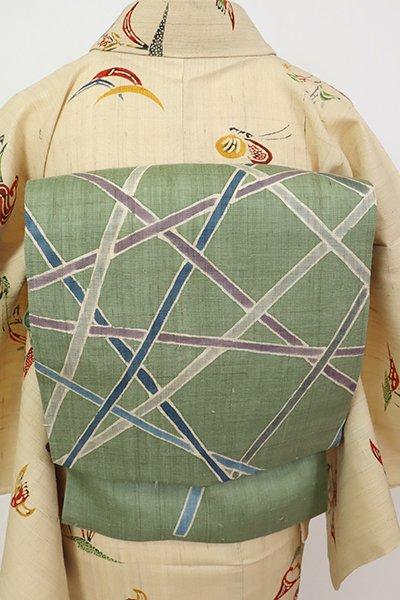 銀座【K-7497】麻地 染名古屋帯 青白橡色 抽象文