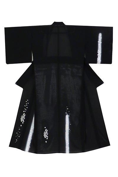 銀座【着物3150】絽 刺繍付下げ 黒色 楓に萩の図