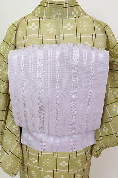 銀座【K-7506】博多織 紗献上 八寸名古屋帯 白藤色