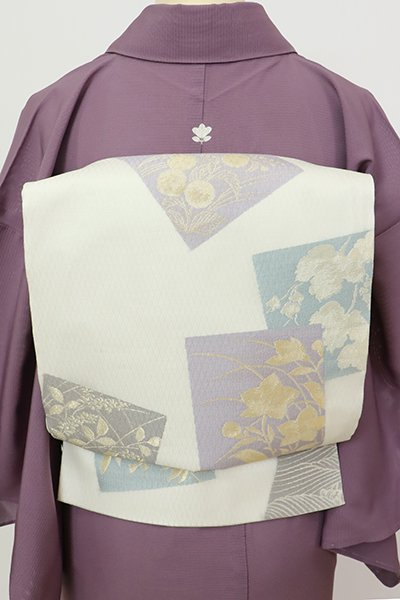 銀座【L-5687】紗 袋帯 白色 色紙重ね文