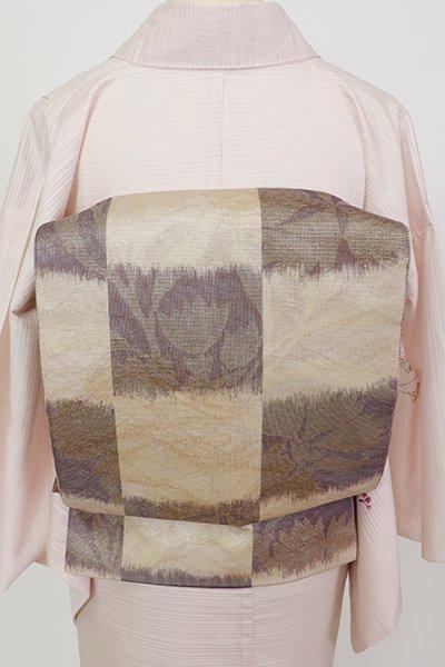 銀座【L-5688】紗 袋帯 白茶色×似せ紫色 市松に撫子の図